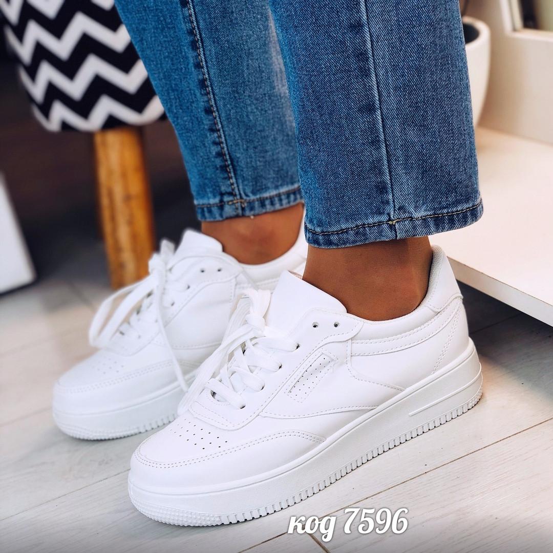 Женские стильные кеды на платформе кроссовки с перфорацией  force  белые