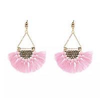 Модні богемні жіночі бахромні стильні сережки (рожеві)