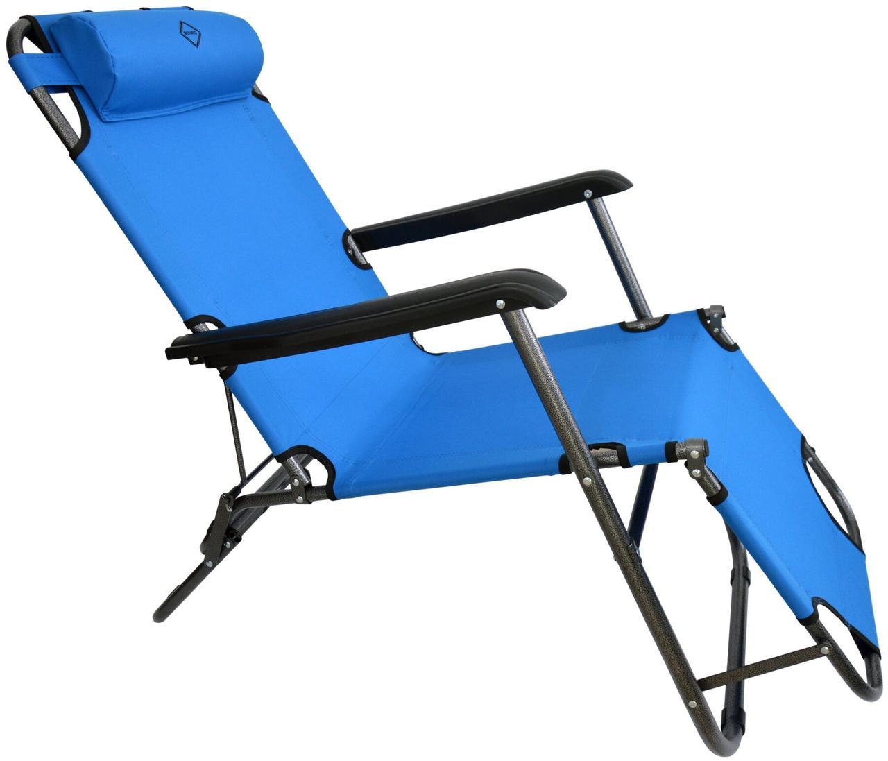 Шезлонг лежак стальной прочный садовое кресло на 153 см раскладное голубое с подголовником нагрузкой до 100 кг