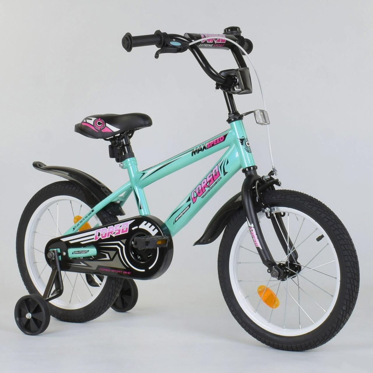 """Двухколесный детский велосипед 16"""" Бирюзовый велосипед Corso  для девочки 4-6 лет"""