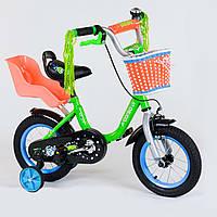 """Детский двухколёсный велосипед 12"""" салатовый велосипед для девочки 3-4 года с ручным тормозом и съемными"""