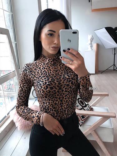 Женский боди леопард трикотаж S-M M-L