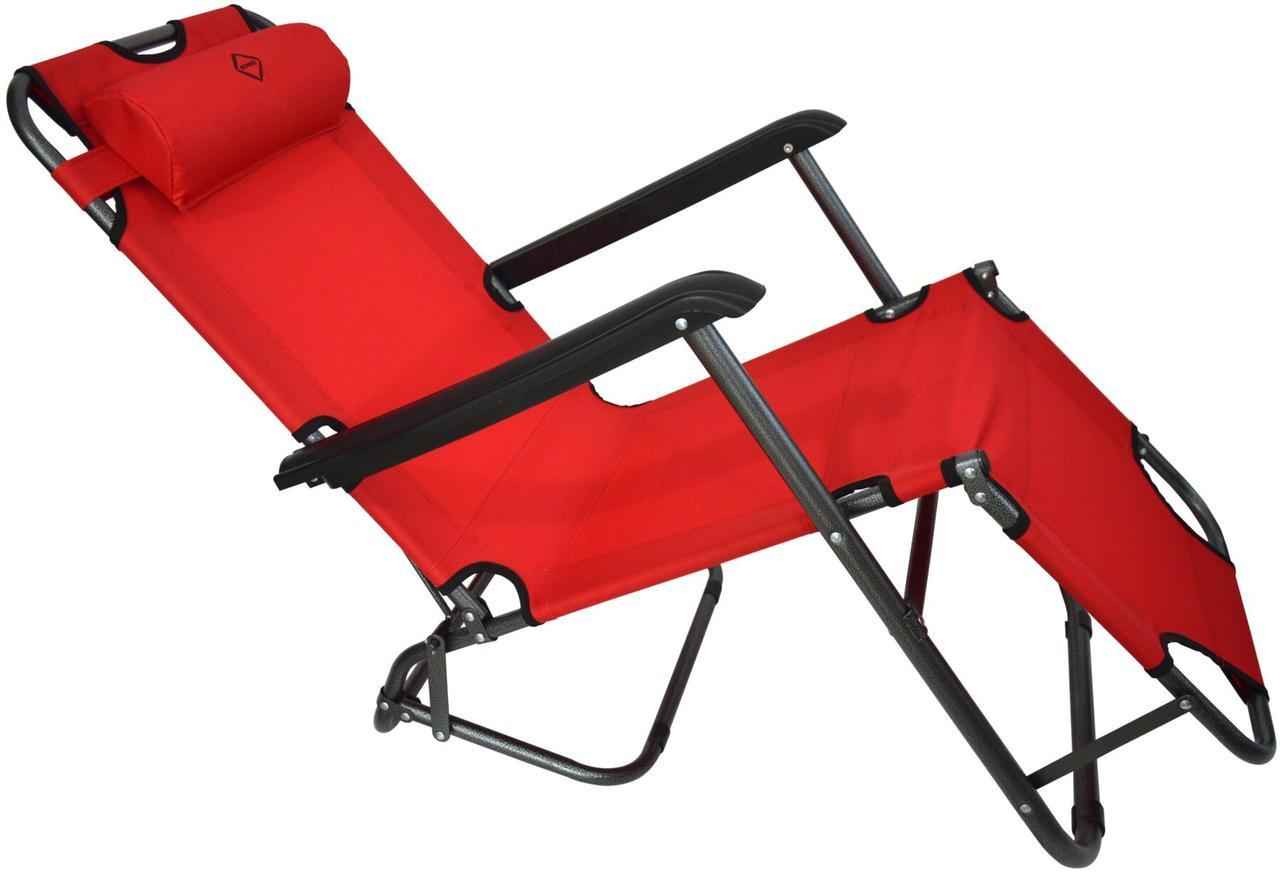Шезлонг лежак стальной прочный садовое кресло на 153 см раскладное красное с подголовником нагрузкой до 100 кг