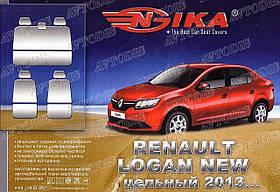 Авточехлы Renault Logan 2013- (з/сп. цельная) Nika