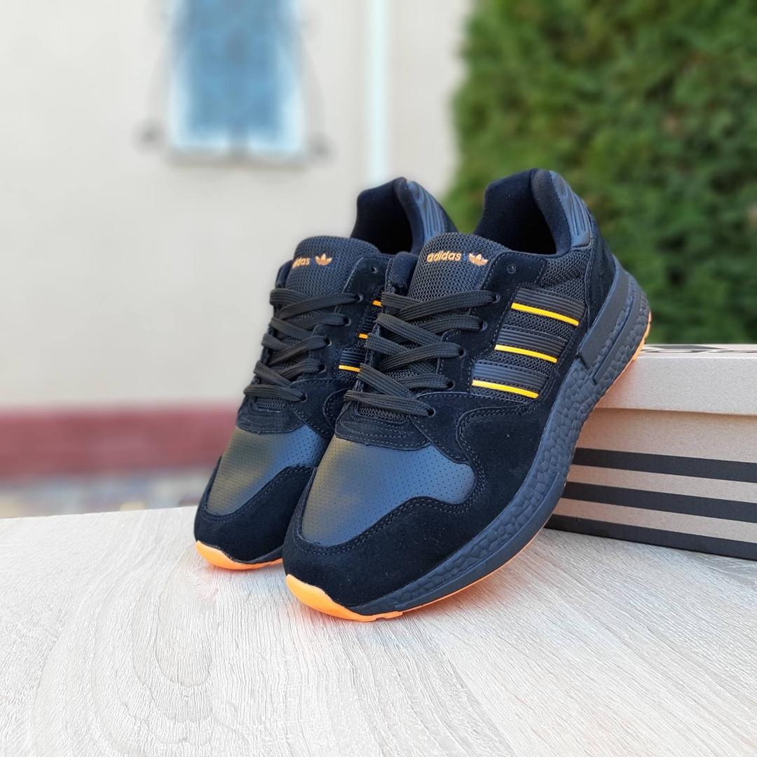 Мужские кроссовки Adidas ZX 500 RM (черно-оранжевые)