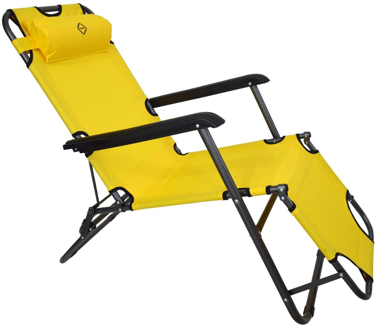 Шезлонг лежак стальной прочный садовое кресло на 153 см раскладное желтое с подголовником нагрузкой до 100 кг
