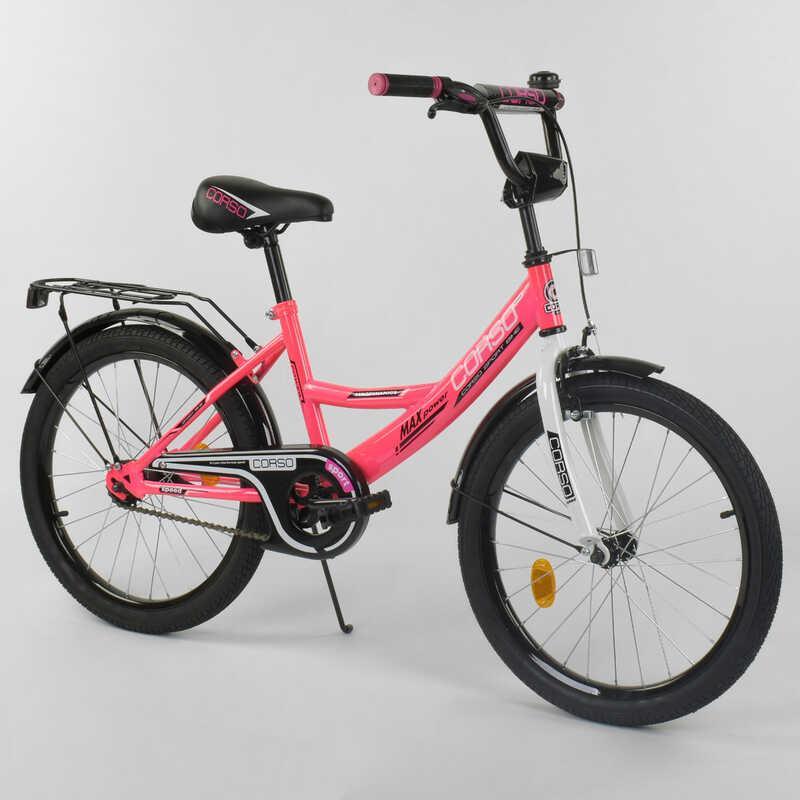 """Велосипед 20"""" дюймов 2-х колёсный  """"CORSO"""" CL-20 Y 6009 (1)РОЗОВЫЙ, ручной тормоз, звоночек, СОБРАННЫЙ НА 75% в коробке"""