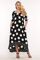 Женское, летнее, легкое длинное платье из штапеля, свободного кроя . Большого размера Р- 52,54, 56, 58 в горох