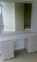Туалетний столик з дзеркалом 8 ящиків білий масив ясеня