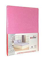 Махрове простирадло на гумці з наволочками на матрац 180*200 см Рожевий, фото 1