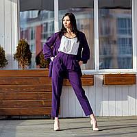 Женский,брючный,деловой,стильный костюм, ткань  креп костюмный, р-ры 42,44,46,48 ( 689.3)сливовый