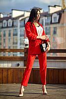 Женский,брючный,деловой,стильный костюм, ткань  креп костюмный, р-ры 42,44,46,48 ( 689.2) красный