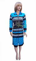 Велюровый халат на молнии голубого цвета (женский) Sen №7006-1