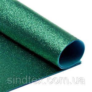 (1 лист) Фоамиран глиттерный 1,6мм толщина (без клеевой основы) 30х19,5см Цвет - Изумрудный (сп7нг-4508)