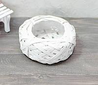 Кашпо из бересты белое круглое