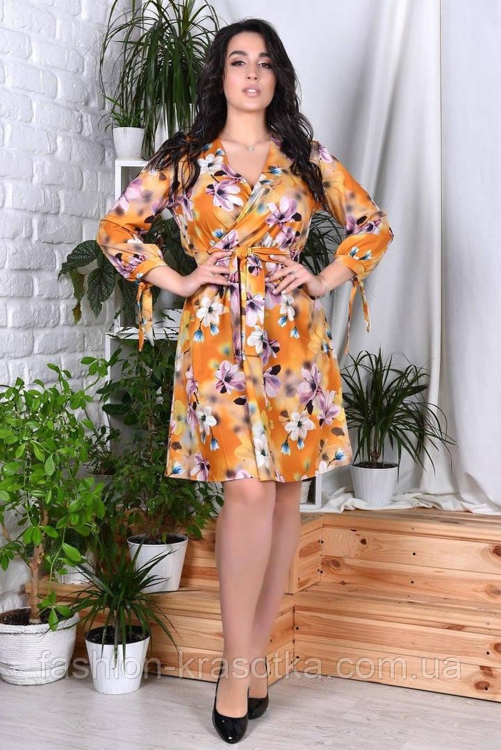 Модное нарядное женское платье,ткань софт-принт,размеры:44,46,48,50,52,54.