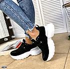 Женские кроссовки черного цвета, натуральная замша, фото 3