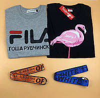 Футболка Fila Гоша Рубчинский и Supreme Flamingo + ремень Off-White в подарок