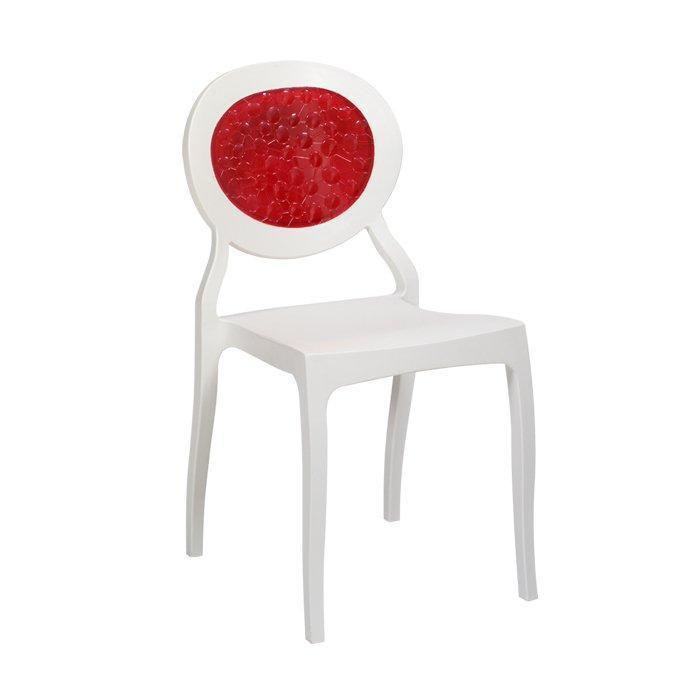 Стілець Ронда РС, пластик, колір білий, вставка з червоного акрилу