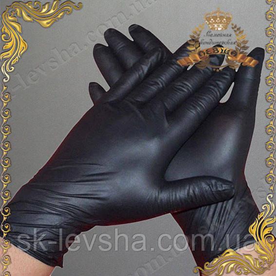 Перчатки кондитерские (нитриловые), неопудренные черные Размер L