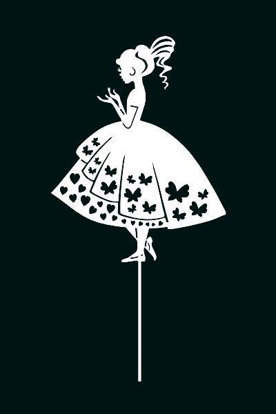 Топпер принцеса на торт, топер дівчина дівчина плаття ,топпери силуети ОПТ/Роздріб