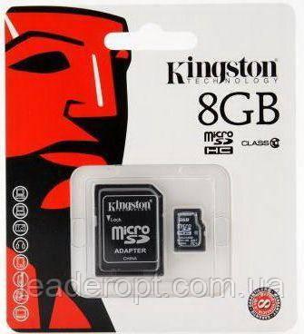 [ОПТ] Карта памяти micro SD Kingston 8GB Class 4 c адаптером