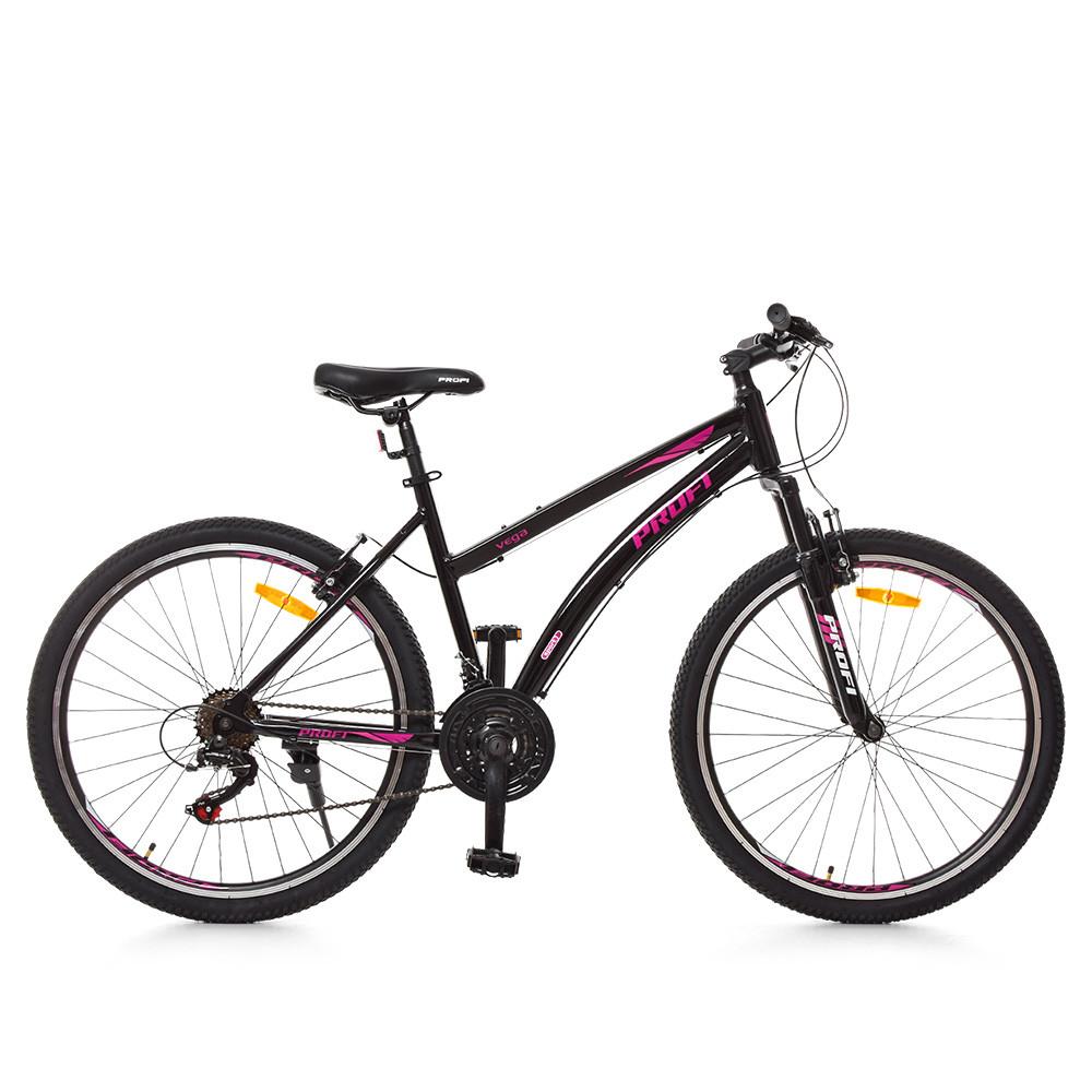 Спортивный велосипед колеса 26 дюймов PROFI G26VEGA A26.2 черно-розовый