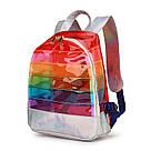 Прозрачный рюкзак в полоску оранжевый., фото 2