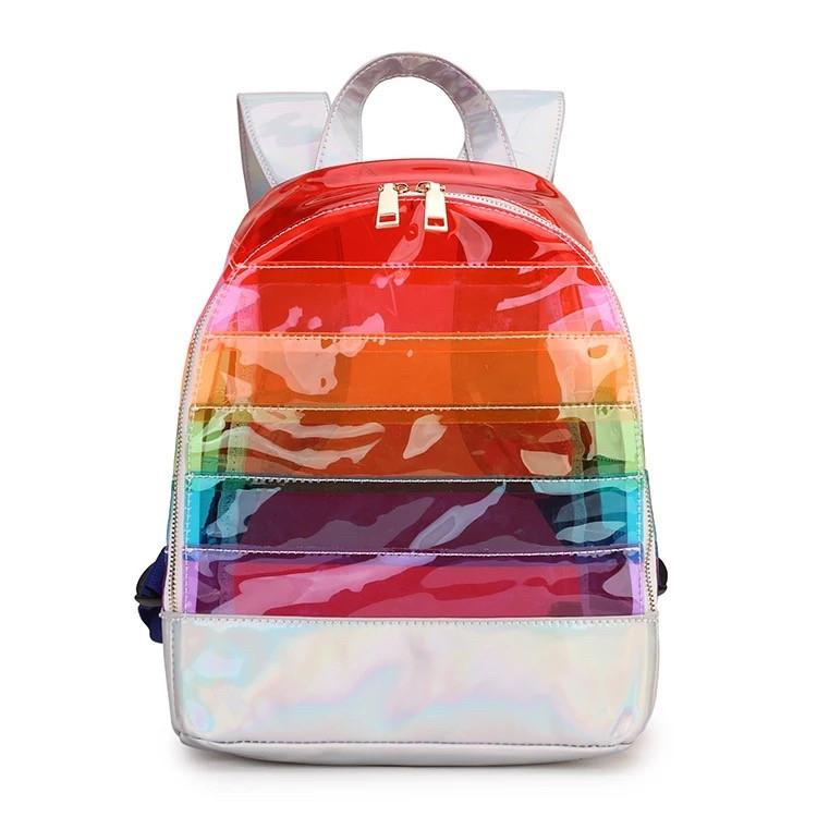 Прозрачный рюкзак в полоску оранжевый.