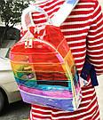 Прозрачный рюкзак в полоску оранжевый., фото 5