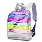 Прозрачный рюкзак в полоску серебро., фото 2