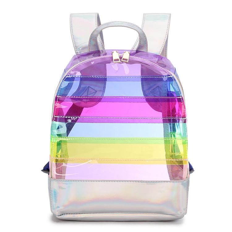 Прозрачный рюкзак в полоску серебро.