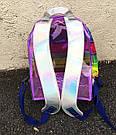 Прозрачный рюкзак в полоску серебро., фото 10