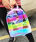 Прозрачный рюкзак в полоску серебро., фото 7