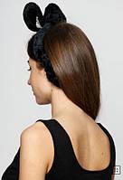 Домашняя повязка на голову Ушки. Черная, фото 1