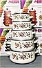 Набор эмалированных кастрюль с крышками Benson BN-079 белый (10 предметов) | кастрюля Бенсон, Бэнсон