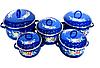 Набор эмалированных кастрюль с крышками Benson BN-121 синий (10 предметов) | кастрюля Бенсон, Бэнсон