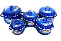 Набор эмалированных кастрюль с крышками Benson BN-121 синий (10 предметов) | кастрюля Бенсон, Бэнсон, фото 1