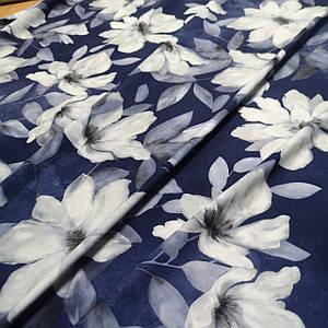 Ткань супер софт принт лилии на синем
