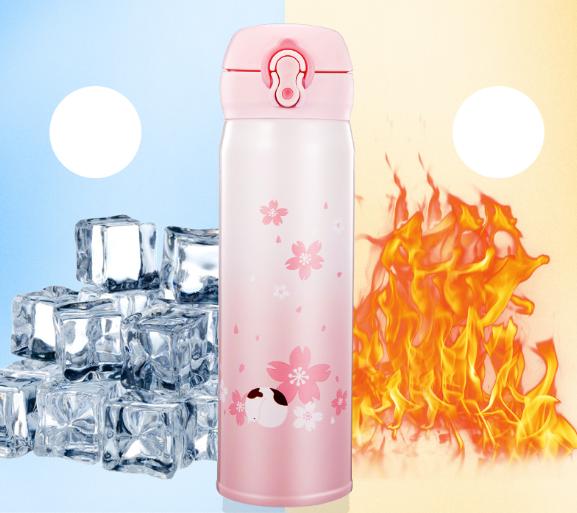 Термос из нержавеющей стали Benson BN-083 (350 мл) розовый | термочашка Бенсон | термокружка Бэнсон