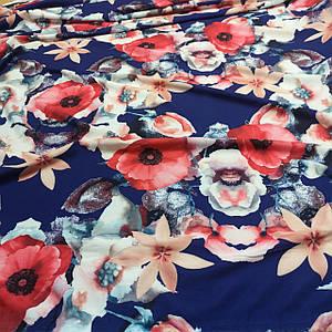 Ткань супер софт принт крупные цветы на синем