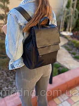 Жіночий рюкзак комбінована шкіра з текстилем
