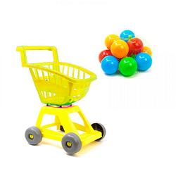 Тележка детская для покупок с шариками.Тележка игрушечная Супермаркет.Тележка детская и шарики.. Желтый