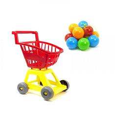 Тележка детская для покупок с шариками.Тележка игрушечная Супермаркет.Тележка детская и шарики.. Красный
