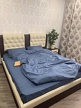 Комплект постельного  белья Страйп Сатин полоска Графит темно - серый