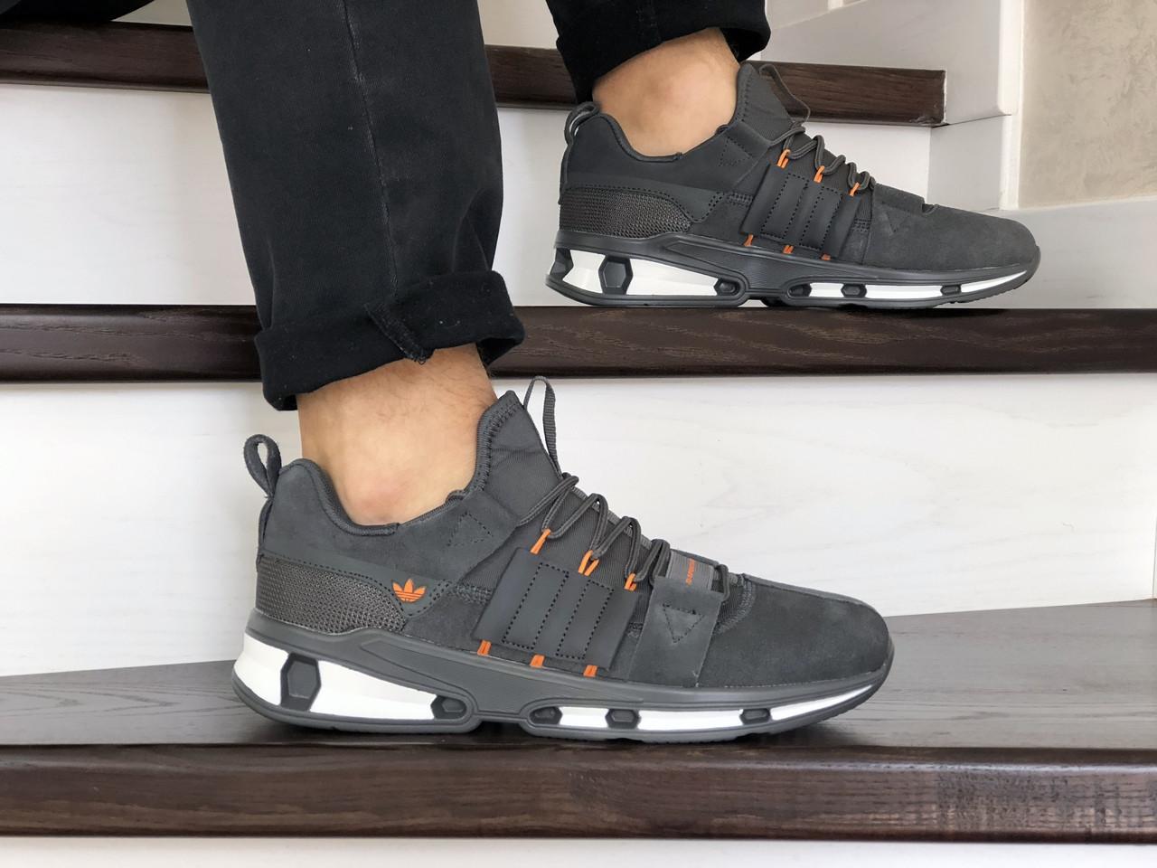 Мужские замшевые кроссовки Adidas (серые) 9131