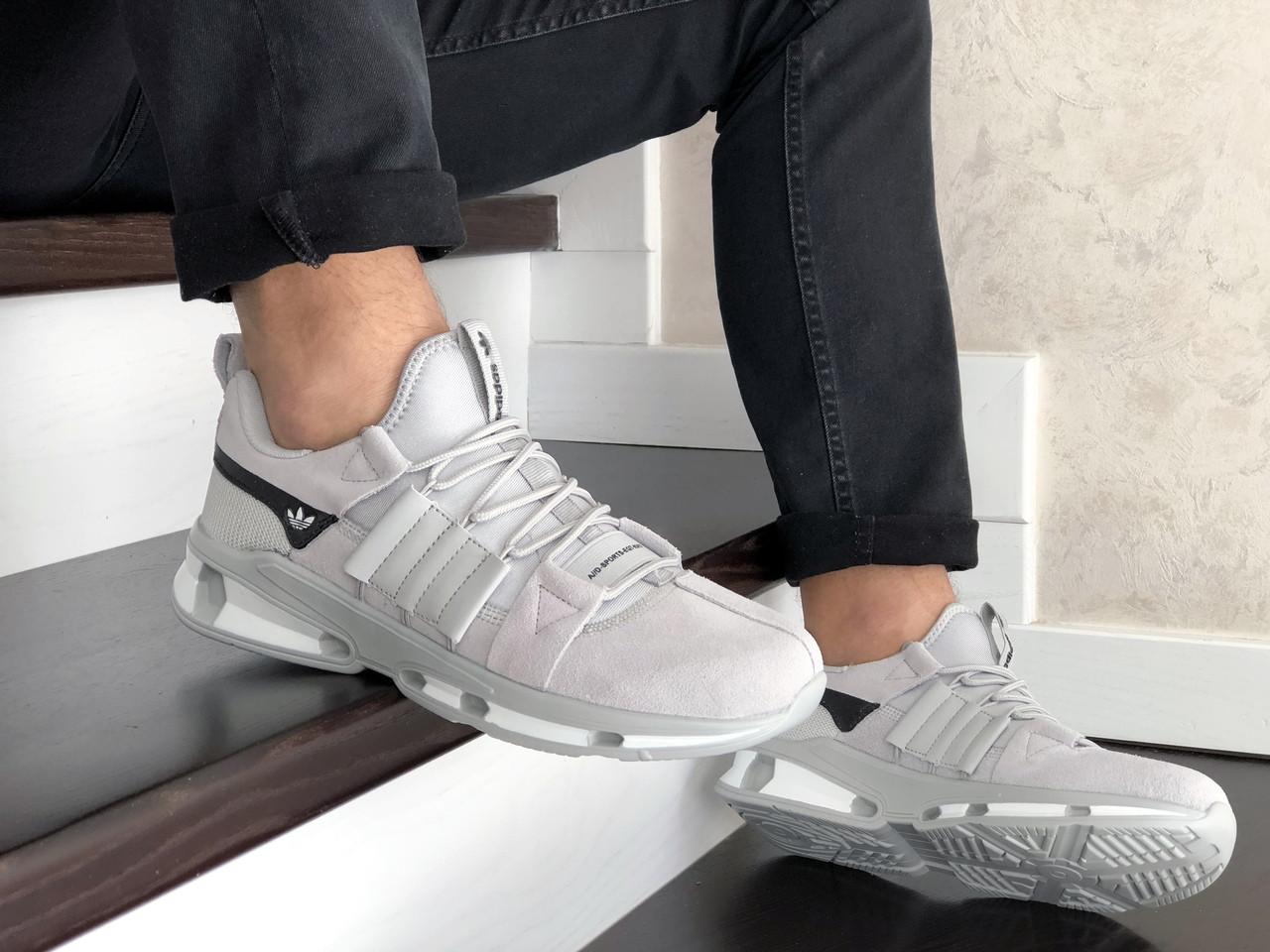 Чоловічі замшеві кросівки Adidas (світло-сірі) 9133