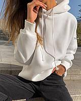 Женское худи с капюшоном двухнить белый беж мокко 42-46