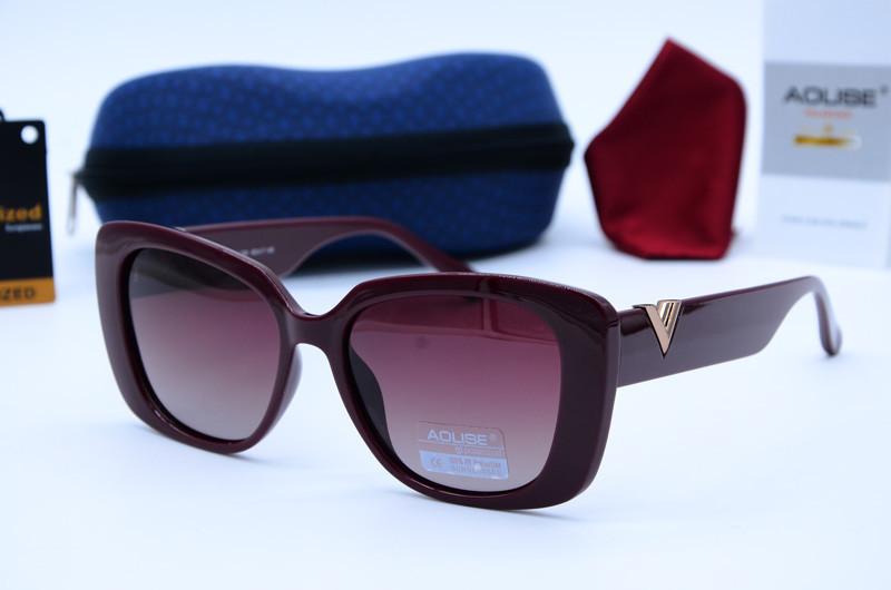 Женские солнцезащитные прямоугольные очки Aolise бордовые 4424 А887-Р78-81