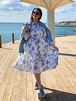 Нарядное белое платье миди с цветами и рукавом (L/XL, XL/XXL)
